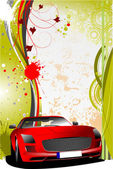 Green and red grunge background with red car. Vector — Stock Vector