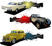 Three banners with old car. Vector illustration — Stock Vector