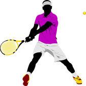 Tenis oyuncusu. renkli vektör çizim tasarımcılar için — Stok Vektör