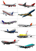 Ten passenger airplanes. Vector illustration — Stock Vector