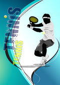 Eps10 Tennis player poster. Colored Vector eps 10 illustration f — Stock Vector