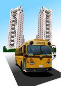 Dormitory and school bus. Vector illustration — Stock Vector