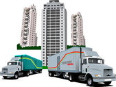 New Dormitory and two trucks. Vector illustration — Stock Vector