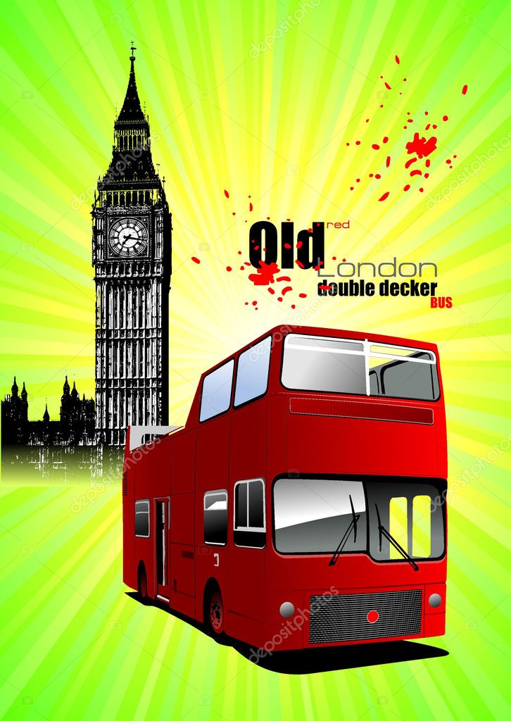 Poster  with tour double Decker bus. Vector illustration — Stock Vector #4617539