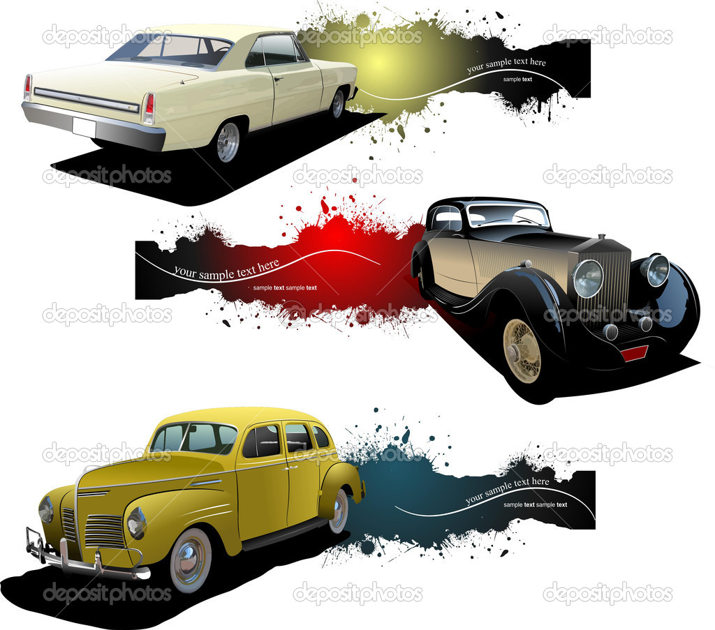 Three banners with old car. Vector illustration — Stock Vector #4617687