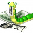 Caterpillar and money — Stock Photo