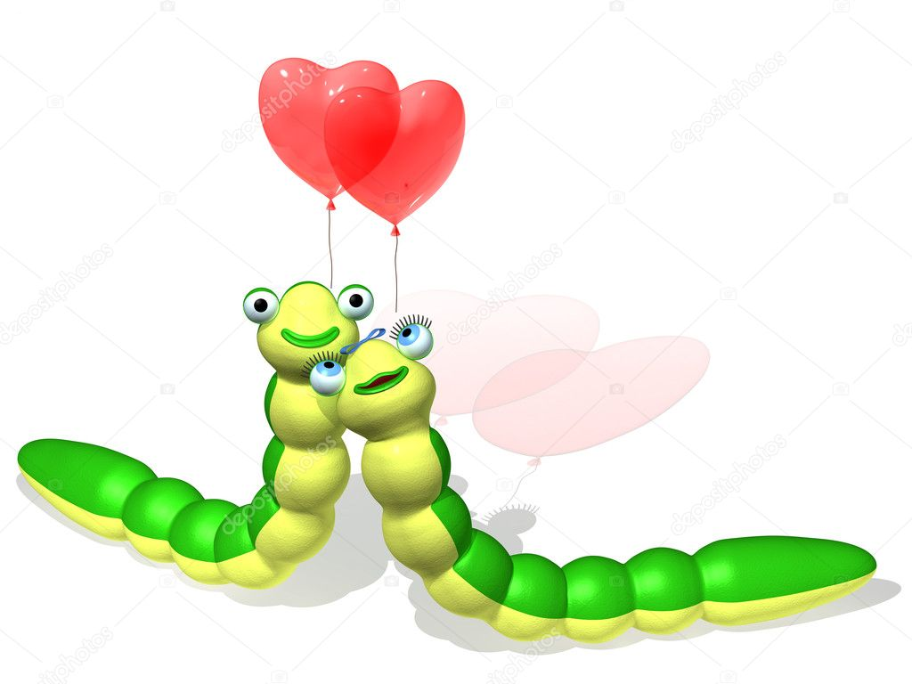 The three-dimensional animated image of caterpillars with balloons as hearts — Stock Photo #4262168