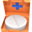 The first-aid set with a tablet — Stock Photo