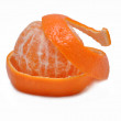 Mandarine with a skin on a white background — Stock Photo