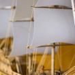 Part of ship with focus on a sail — Stock Photo