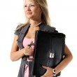 Young beautiful girl, a businesswoman with a briefcase — Stock Photo #3963798
