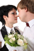 Bride to the bridegroom — Stock Photo