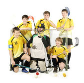 Floorball players and goalkeeper — Stock Photo