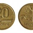 Coin Lithuania lit on the white background (2008 year) — Stock Photo
