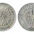 Stock Photo: Old Americcoin on white background (1851 year)