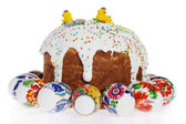 Russian Easter cake and colourful easter eggs isolated — Stock Photo
