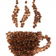 Silhouette mugs of coffee beans on the white - Stock Photo