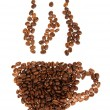 Silhouette mugs of coffee beans on the white - Stok fotoraf