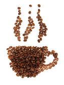 Silhouette mugs of coffee beans on the white — Stock Photo