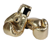 Bronze boxing-gloves on the white — Stock Photo