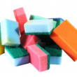 Heap of coloured bath sponge, sponge — Stock Photo