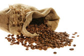 Coffee in a sack and spilled — Stock Photo
