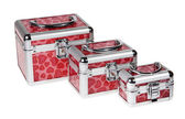 Red suitcase on the white background — Stock Photo
