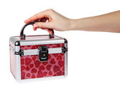 在他的手中的红色行李箱 — 图库照片