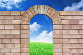 Isolated arch from bricks — Stock Photo