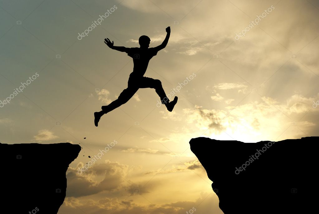 Man jump through the gap. Element of design.  Stock Photo #3954362