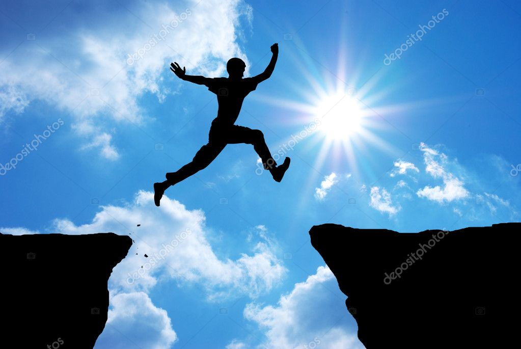 Man jump through the gap. Element of design.  Stockfoto #3954394