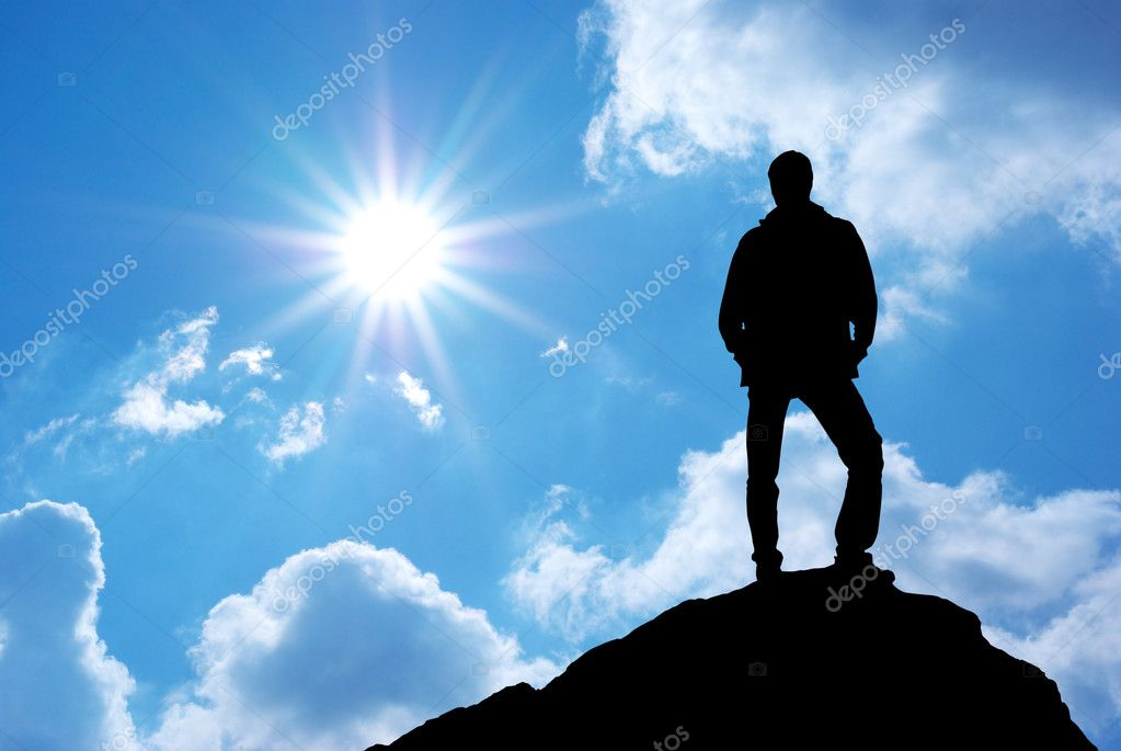 Silhouette of man on sunset. Element of design. — Stock Photo #4289979