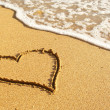 Heart on beach - Stock Photo