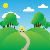 The car goes on the way to a background of the blue sky — Stock Vector