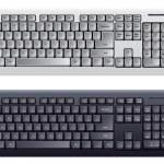 计算机键盘在白色和黑色的颜色 — 图库矢量图片