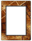 Retro photo framework on old paper, filmstrip — Stock Photo