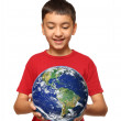 Asian boy holding earth palnet — Stock Photo