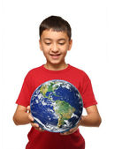 Asian boy holding earth palnet — Stock Photo