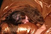 Dormire paffute donne su seta — Foto Stock
