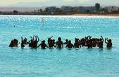 Happy do aerobics in sea — Stock Photo