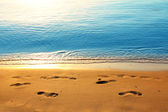 Footprints on sand along sea at dawn — Stock Photo