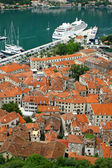 Sea port and Kotor old town, Montenegro — Stock Photo