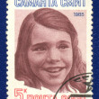 A post stamp printed in USSR and shows portrait of Samantha Smith — Photo