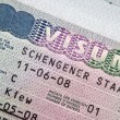 Page of passport with Schengen visa - Stock Photo