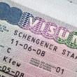 Page of passport with Schengen visa — Stock Photo