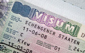 Page of passport with Schengen visa — Stock Photo