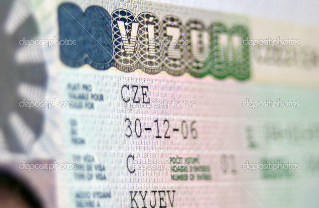 Close-up page of passport with Czech Republic national visa — Stock Photo #4609870