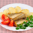 Fried fish and potato - Stock Photo