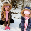 Sisters in winter — Stock Photo