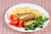 Fried fish and potato — Stock Photo